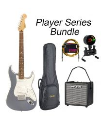 Fender Player Series Strat Electric Guitar PF BUNDLE with BAG, AMP, TUNER & LEAD. Silver