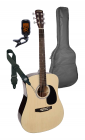 Nashville Acoustic Guitar Pack - Natural with Bag Strap and Tuner GSD-60-NT