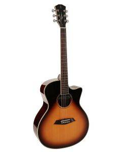 Sire Acoustics R3 GZ Series Acoustic Grand Auditorium Guitar with Zebra electronics and cutaway - Vintage Sunburst