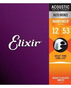 Elixir Acoustic 80/20 Bronze with Nanoweb coating - Acoustic Guitar Strings