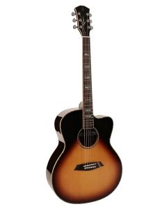 Sire R7 Series All Solid Acoustic Grand Auditorium Guitar with Zebra 7 Electronics and Cutaway Sunburst R7GZVS