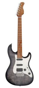 Sire Electrics S7 Series Larry Carlton Electric Guitar S-Style with Flamed Maple Top, S7FM/TBK, Transparent Black