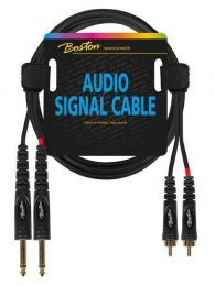Boston audio signal cable, 2x RCA to 2x 6.3mm jack mono, 1.50mtr