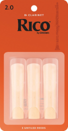 Rico Bb Clarinet Reeds by D'Addario, Strength 2.0, 3 pack.