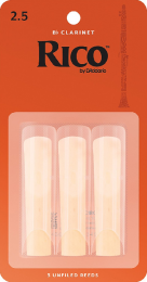 Rico Bb Clarinet Reeds by D'Addario, Strength 2.5, 3 pack.