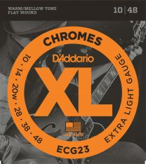 D'Addario Chromes Flat Wound Electric Guitar Strings - Extra Light 10-48 ECG23