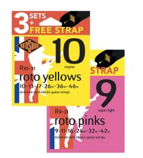 Rotosound Triple pack of Roto Electrics Guitar Strings - Available in 9's or 10's - FREE Guitar Strap